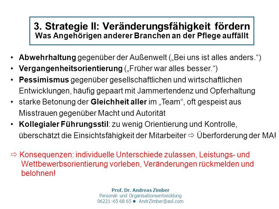 Prof. Dr. Andreas Zimber Personal- und Organisationsentwicklung 06221 -65 68 65 AndrZimber@aol.com 3. Strategie II: Veränderungsfähigkeit fördern Was