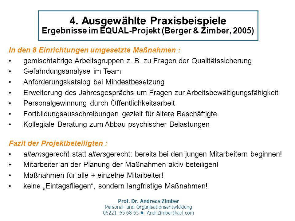 Prof. Dr. Andreas Zimber Personal- und Organisationsentwicklung 06221 -65 68 65 AndrZimber@aol.com 4. Ausgewählte Praxisbeispiele Ergebnisse im EQUAL-