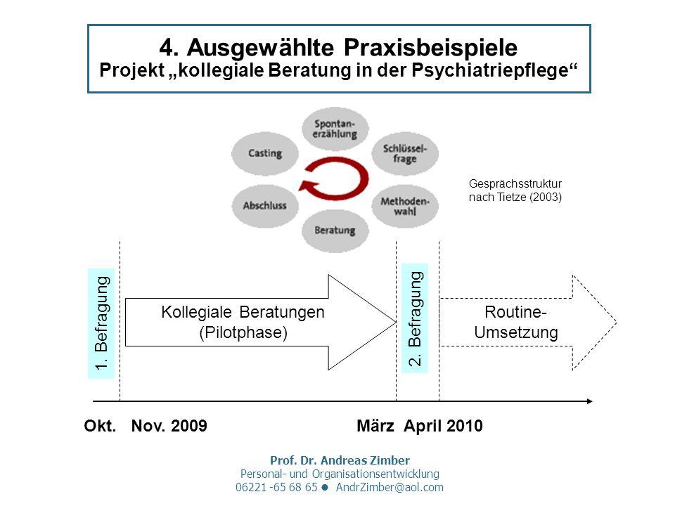 Prof. Dr. Andreas Zimber Personal- und Organisationsentwicklung 06221 -65 68 65 AndrZimber@aol.com 4. Ausgewählte Praxisbeispiele Projekt kollegiale B