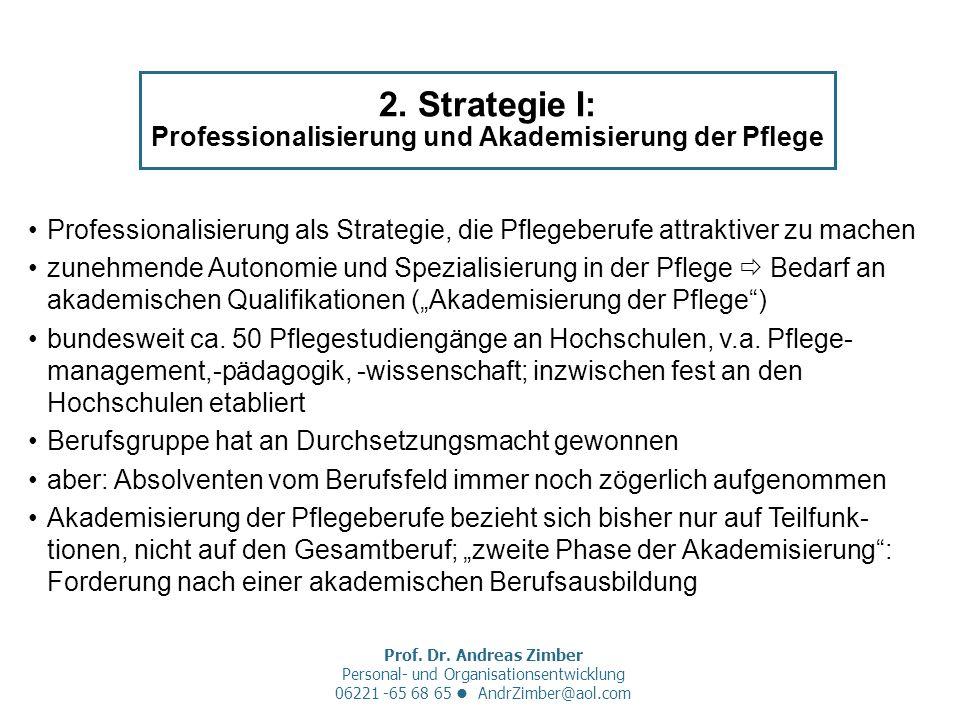 Prof. Dr. Andreas Zimber Personal- und Organisationsentwicklung 06221 -65 68 65 AndrZimber@aol.com 2. Strategie I: Professionalisierung und Akademisie