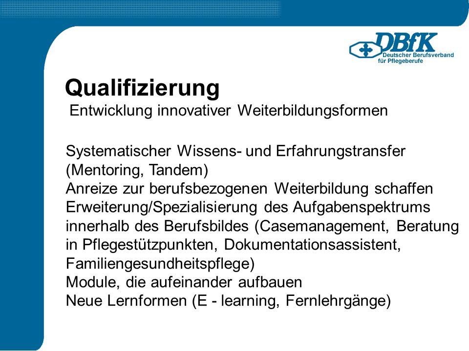 Entwicklung innovativer Weiterbildungsformen Qualifizierung Systematischer Wissens- und Erfahrungstransfer (Mentoring, Tandem) Anreize zur berufsbezog