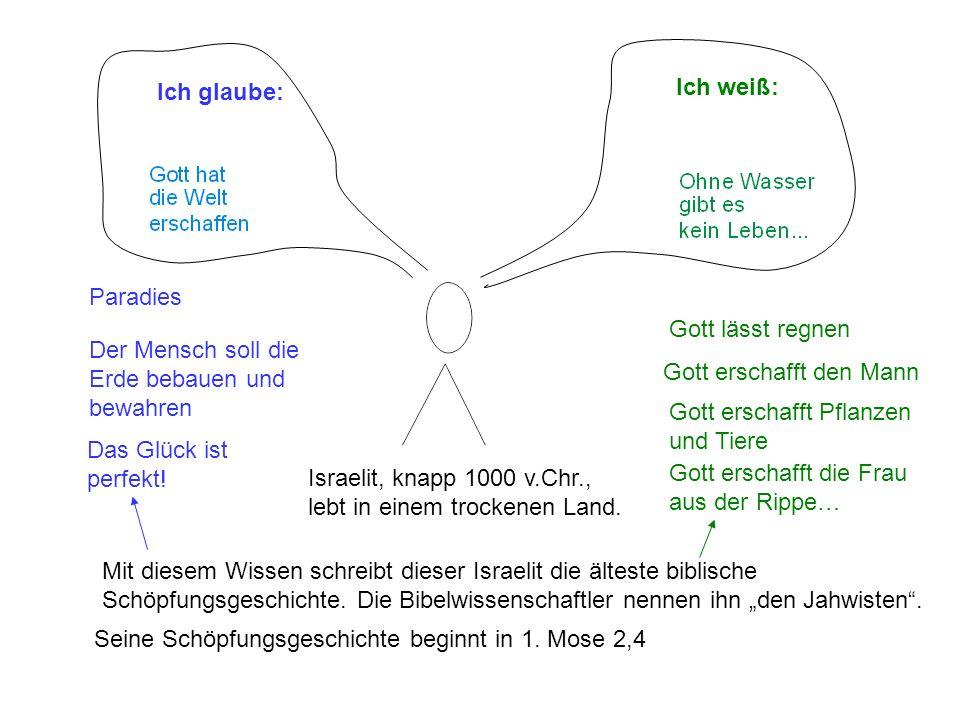 Israelit, knapp 1000 v.Chr., lebt in einem trockenen Land. Ich weiß: Ich glaube: Mit diesem Wissen schreibt dieser Israelit die älteste biblische Schö