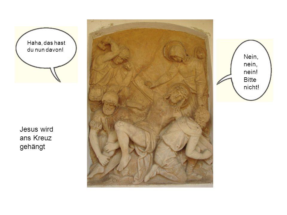 Jesus wird ans Kreuz gehängt Haha, das hast du nun davon! Nein, nein, nein! Bitte nicht!