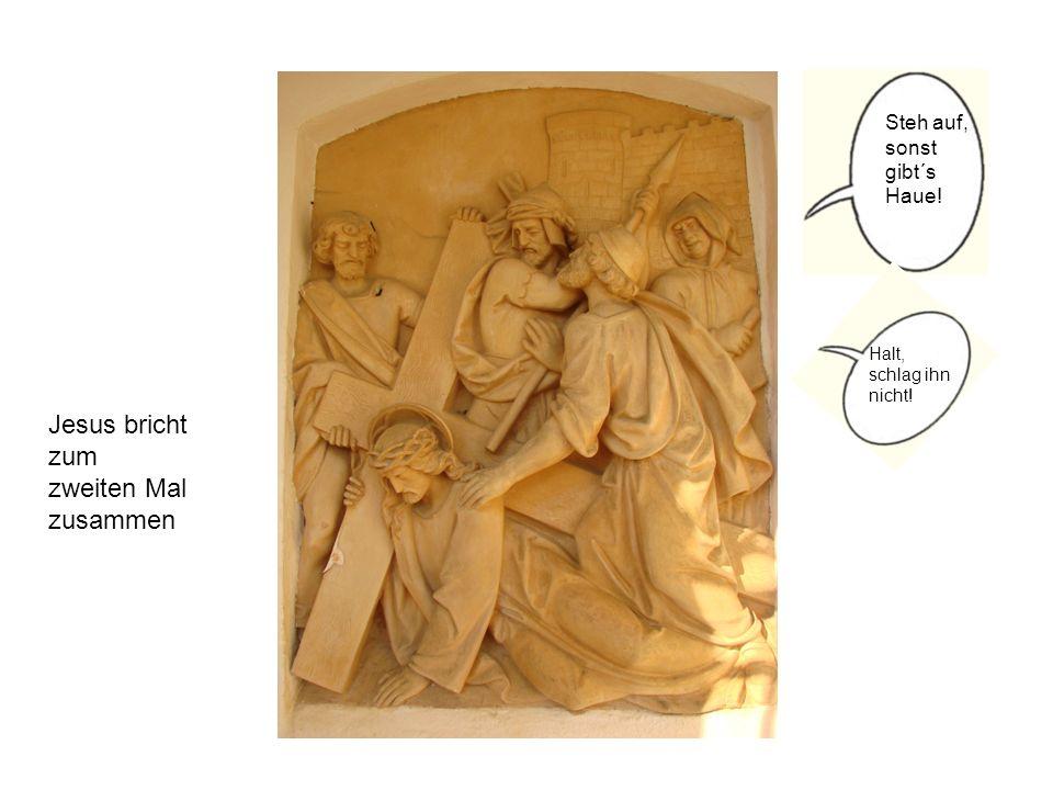 Jesus begegnet den weinenden Frauen Bitte geh nicht von uns, Jesus.
