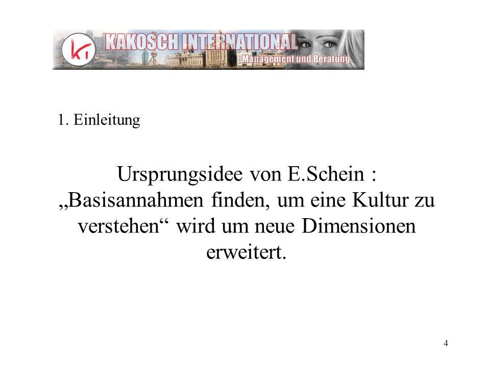 4 Ursprungsidee von E.Schein : Basisannahmen finden, um eine Kultur zu verstehen wird um neue Dimensionen erweitert. 1. Einleitung
