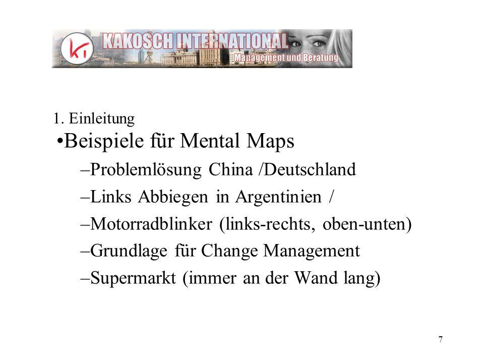 7 Beispiele für Mental Maps –Problemlösung China /Deutschland –Links Abbiegen in Argentinien / –Motorradblinker (links-rechts, oben-unten) –Grundlage