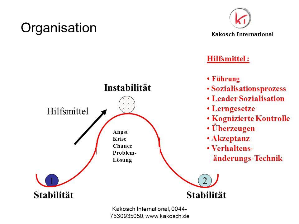 Kakosch International, 0044- 7530935050, www.kakosch.de 12 Angst Krise Chance Problem- Lösung Instabilität Stabilität Hilfsmittel Hilfsmittel : Führun