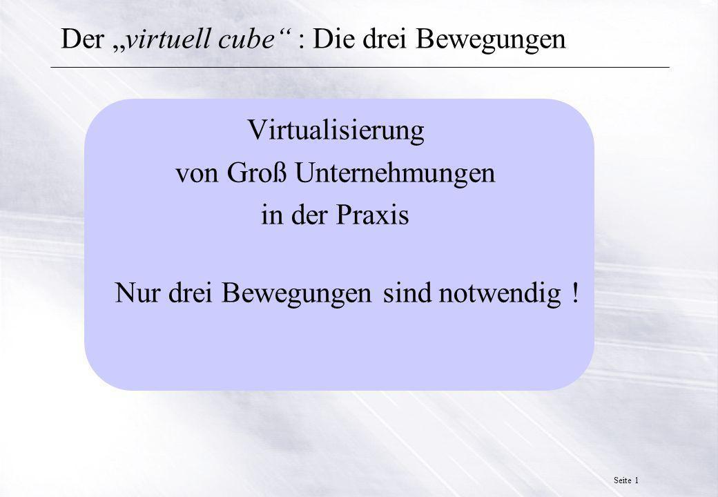 Seite 12 Der virtuell cube : Die drei Bewegungen Schlußfolgerung : Der empirische Versuch durch ein bekanntes Telematik Projekt zeigt, dass die Zusammenführung einer Groß-Unternehmung aus den Kernkompetenzen mehrerer bereits existierender Organisationen bzw.
