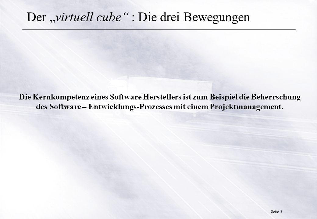 Seite 5 Der virtuell cube : Die drei Bewegungen Die Kernkompetenz eines Software Herstellers ist zum Beispiel die Beherrschung des Software – Entwicklungs-Prozesses mit einem Projektmanagement.