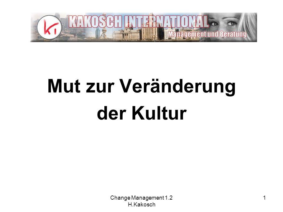 Change Management 1.2 H.Kakosch 1 Mut zur Veränderung der Kultur