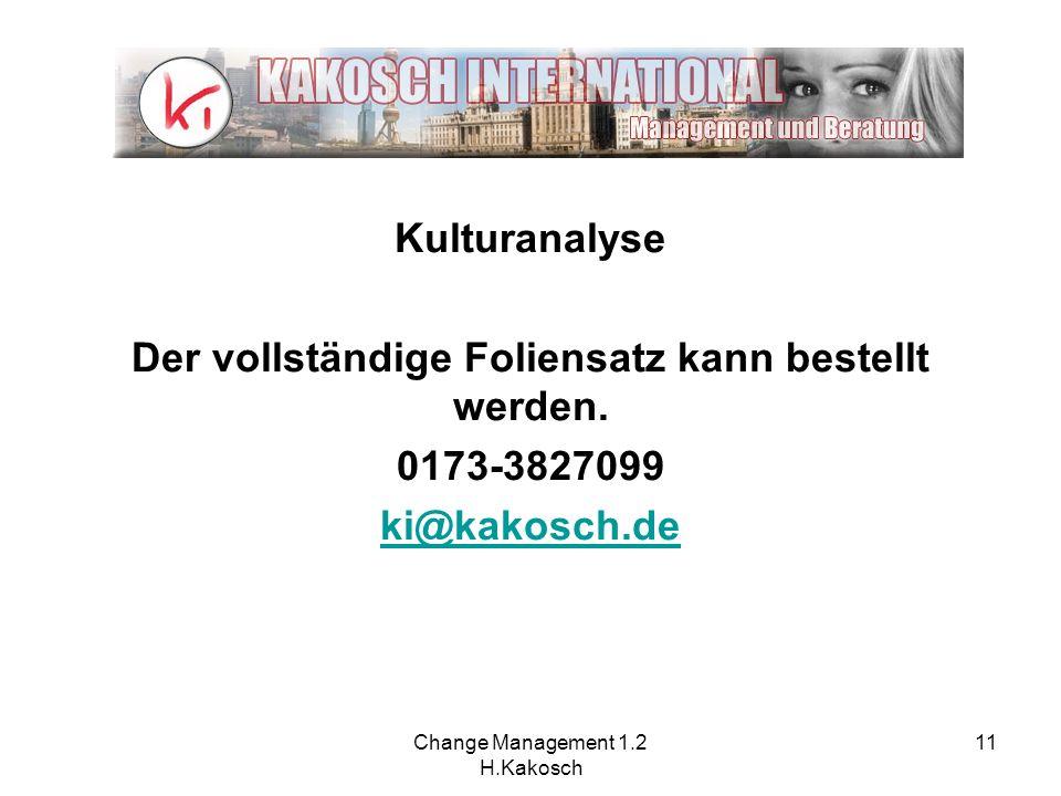 Change Management 1.2 H.Kakosch 11 Kulturanalyse Der vollständige Foliensatz kann bestellt werden. 0173-3827099 ki@kakosch.de