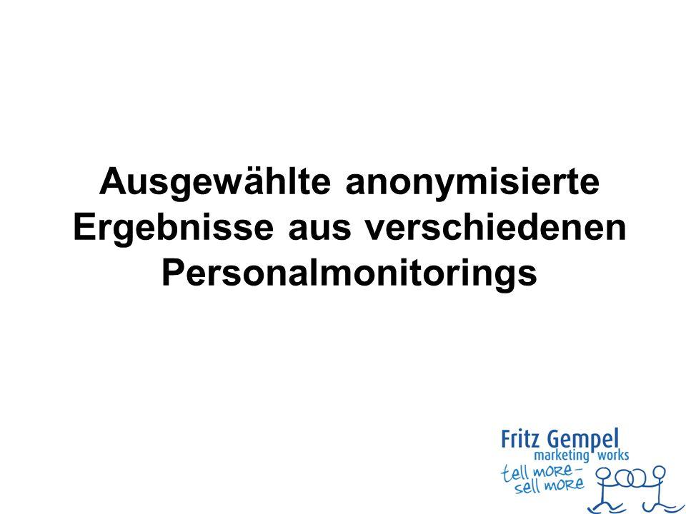 Ausgewählte anonymisierte Ergebnisse aus verschiedenen Personalmonitorings