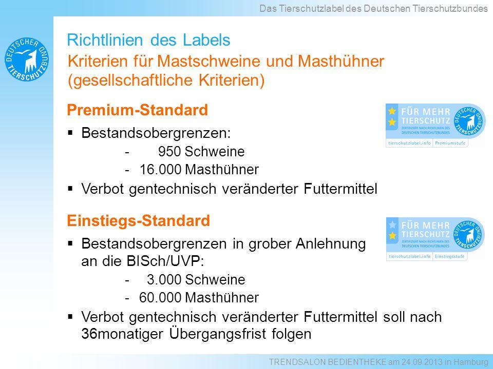 Einstiegs-Standard Bestandsobergrenzen in grober Anlehnung an die BISch/UVP: - 3.000 Schweine -60.000 Masthühner Verbot gentechnisch veränderter Futte