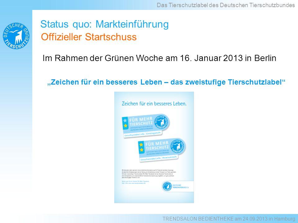 Status quo: Markteinführung Im Rahmen der Grünen Woche am 16. Januar 2013 in Berlin Das Tierschutzlabel des Deutschen Tierschutzbundes Offizieller Sta