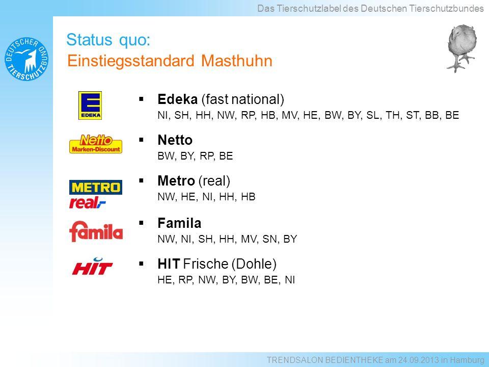 Status quo: Das Tierschutzlabel des Deutschen Tierschutzbundes Einstiegsstandard Masthuhn Edeka (fast national) NI, SH, HH, NW, RP, HB, MV, HE, BW, BY