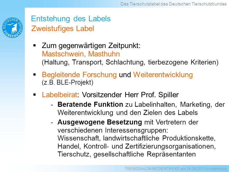 Entstehung des Labels Zum gegenwärtigen Zeitpunkt: Mastschwein, Masthuhn (Haltung, Transport, Schlachtung, tierbezogene Kriterien) Begleitende Forschu