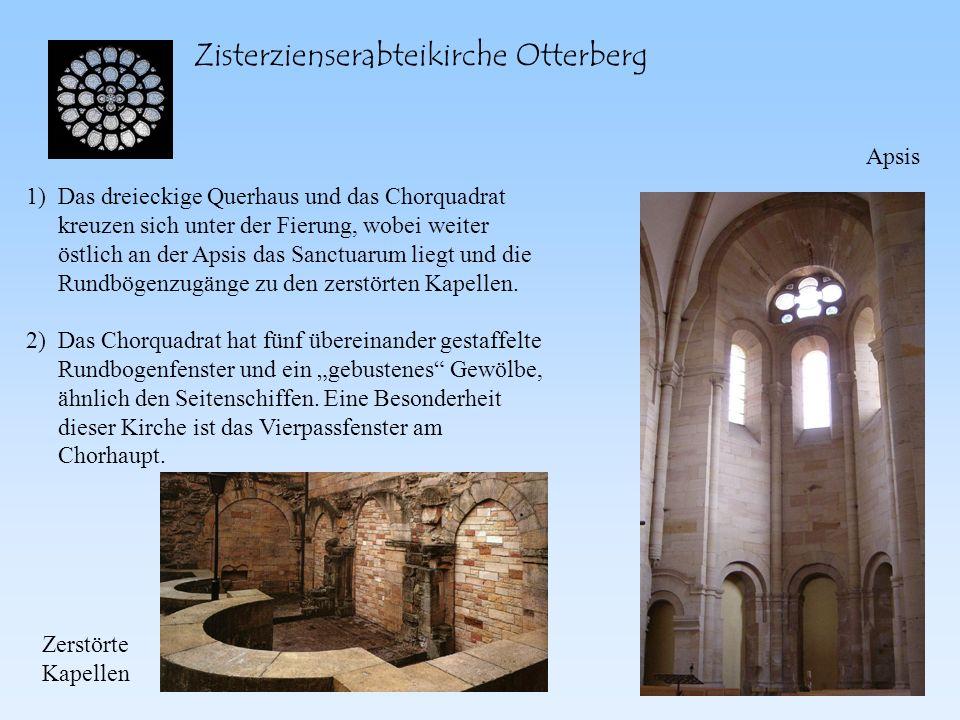Zisterzienserabteikirche Otterberg Das dreieckige Querhaus und das Chorquadrat kreuzen sich unter der Fierung, wobei weiter östlich an der Apsis das S