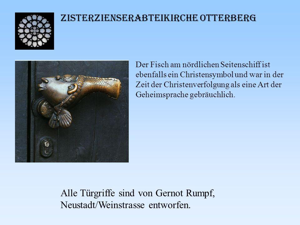 Zisterzienserabteikirche Otterberg Der Fisch am nördlichen Seitenschiff ist ebenfalls ein Christensymbol und war in der Zeit der Christenverfolgung al