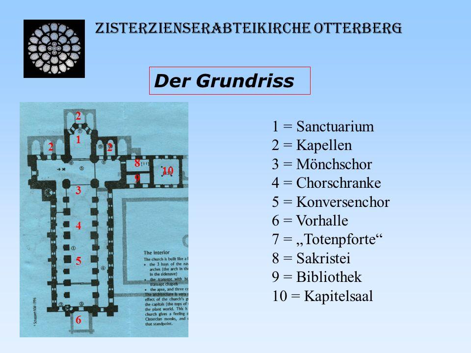 Zisterzienserabteikirche Otterberg Der Grundriss 10 1 3 4 5 6 2 2 2 8 9 1 = Sanctuarium 2 = Kapellen 3 = Mönchschor 4 = Chorschranke 5 = Konversenchor