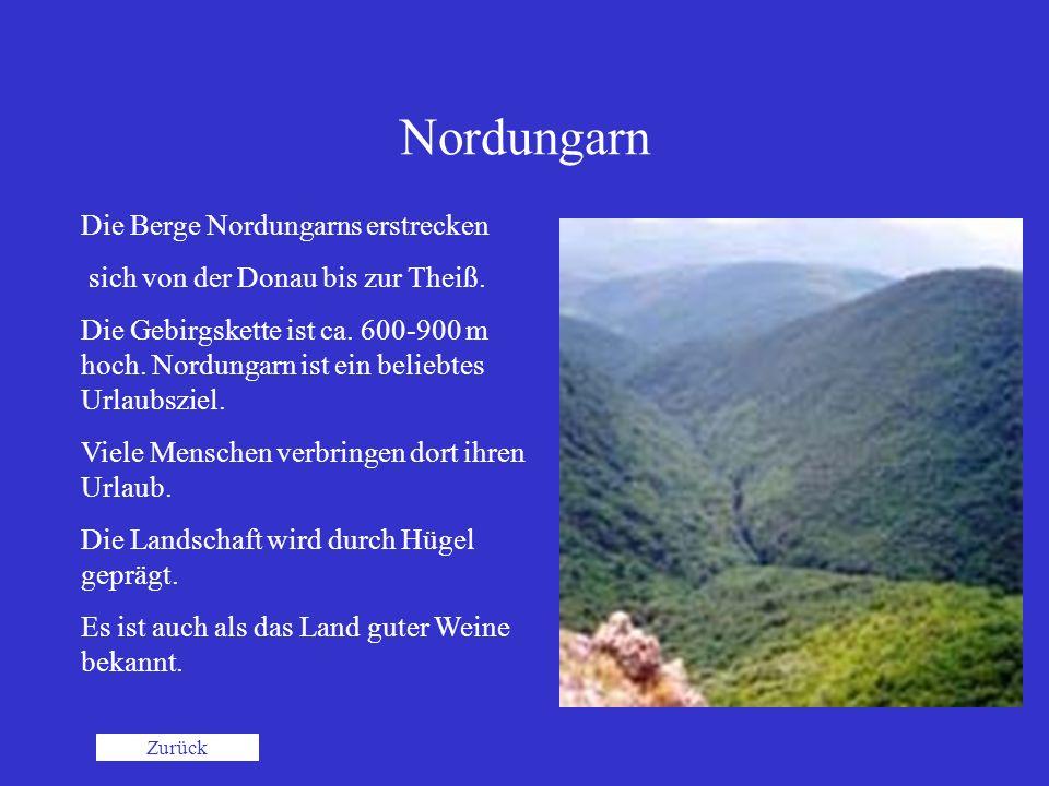Nordungarn Die Berge Nordungarns erstrecken sich von der Donau bis zur Theiß. Die Gebirgskette ist ca. 600-900 m hoch. Nordungarn ist ein beliebtes Ur