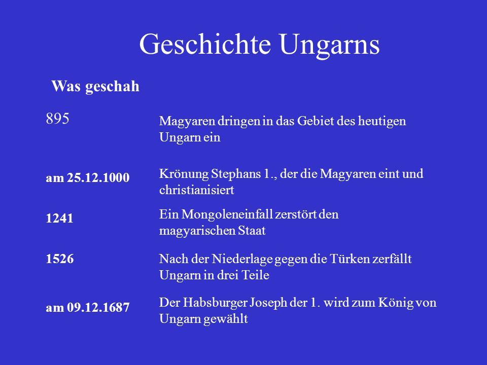 Was geschah 895 Magyaren dringen in das Gebiet des heutigen Ungarn ein am 25.12.1000 Krönung Stephans 1., der die Magyaren eint und christianisiert 12