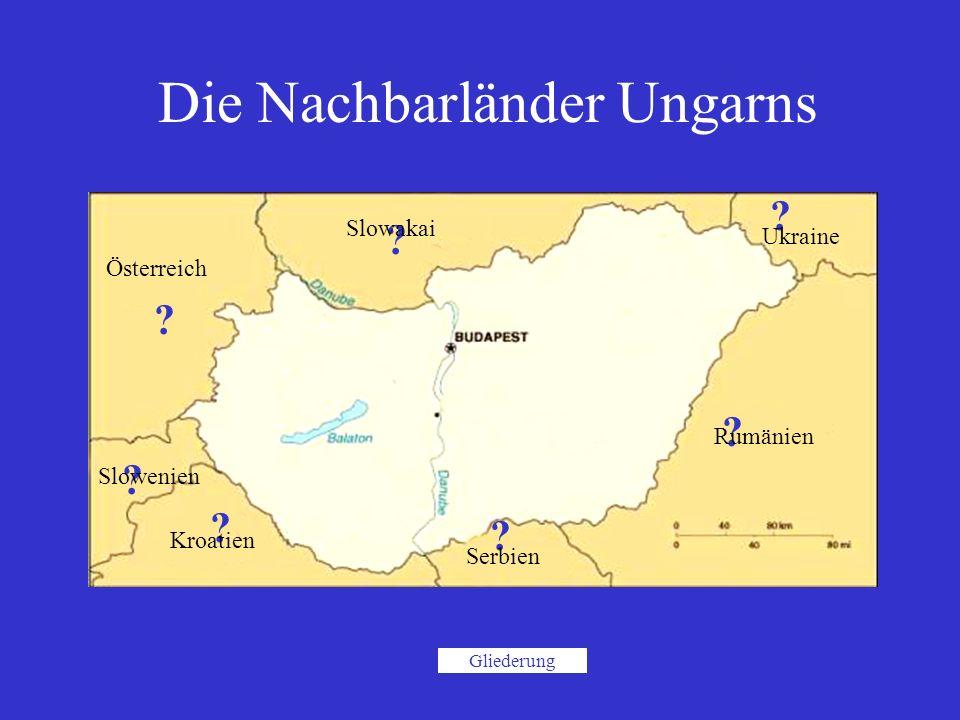 ? Rumänien ? ? ? ? ? ? Die Nachbarländer Ungarns Österreich Slowenien Kroatien Slowakai Ukraine Serbien Gliederung