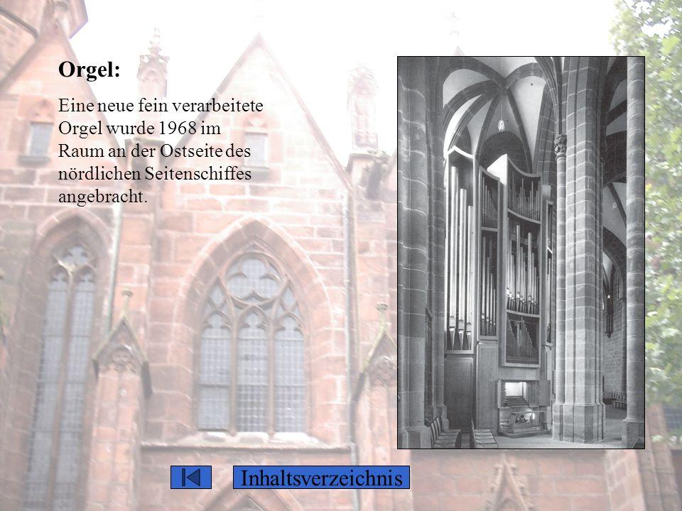 Orgel: Eine neue fein verarbeitete Orgel wurde 1968 im Raum an der Ostseite des nördlichen Seitenschiffes angebracht. Inhaltsverzeichnis