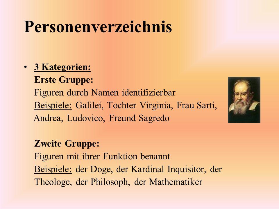 Personenverzeichnis 3 Kategorien: Erste Gruppe: Figuren durch Namen identifizierbar Beispiele: Galilei, Tochter Virginia, Frau Sarti, Andrea, Ludovico
