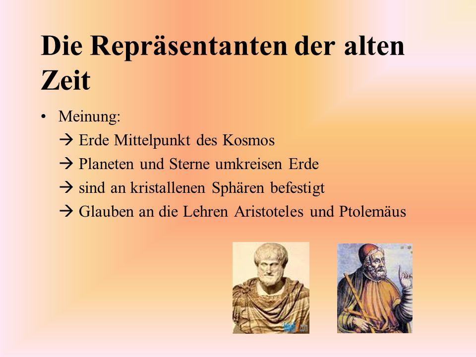 Die Repräsentanten der alten Zeit Meinung: Erde Mittelpunkt des Kosmos Planeten und Sterne umkreisen Erde sind an kristallenen Sphären befestigt Glaub