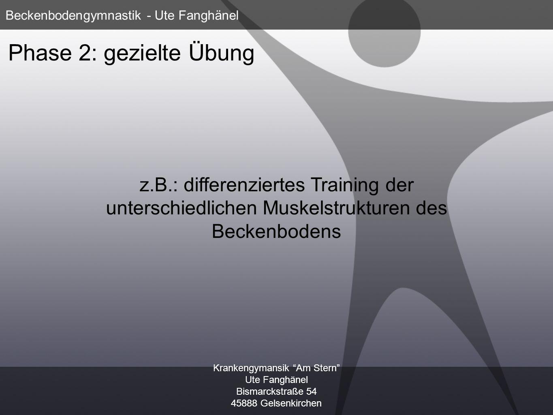 Krankengymansik Am Stern Ute Fanghänel Bismarckstraße 54 45888 Gelsenkirchen Beckenbodengymnastik - Ute Fanghänel Phase 3: Blasen- und Toilettentraining z.B.: Erlernen einer korrekten Sitzposition