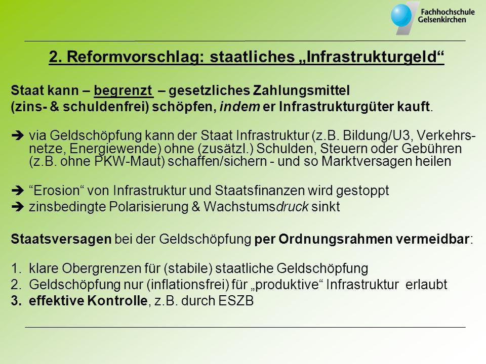 2. Reformvorschlag: staatliches Infrastrukturgeld Staat kann – begrenzt – gesetzliches Zahlungsmittel (zins- & schuldenfrei) schöpfen, indem er Infras