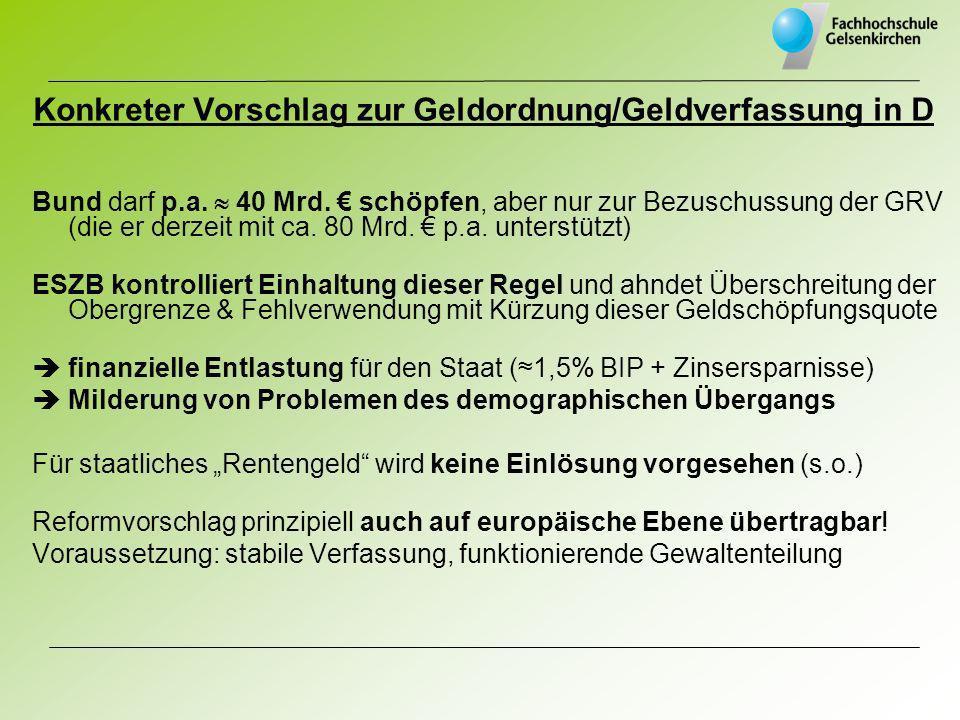 Konkreter Vorschlag zur Geldordnung/Geldverfassung in D Bund darf p.a. 40 Mrd. schöpfen, aber nur zur Bezuschussung der GRV (die er derzeit mit ca. 80