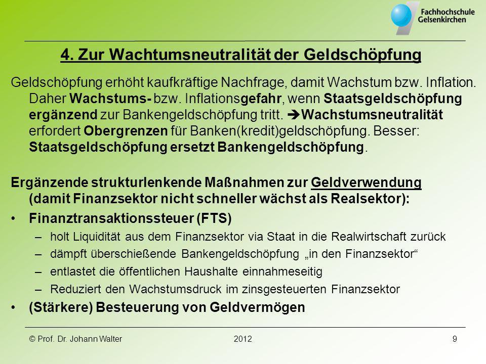 4. Zur Wachtumsneutralität der Geldschöpfung Geldschöpfung erhöht kaufkräftige Nachfrage, damit Wachstum bzw. Inflation. Daher Wachstums- bzw. Inflati