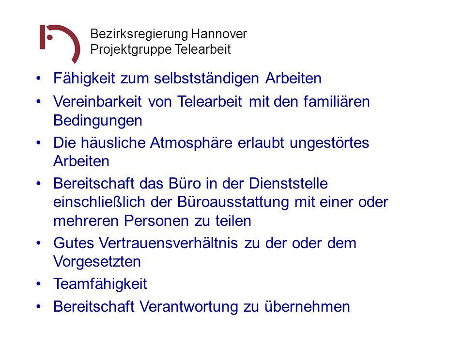 Bezirksregierung Hannover Projektgruppe Telearbeit Vereinbarkeit von Telearbeit mit den familiären Bedingungen Die häusliche Atmosphäre erlaubt ungest