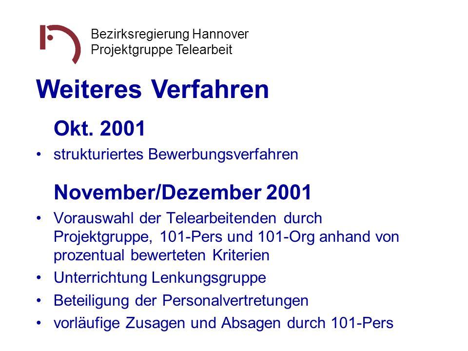 Bezirksregierung Hannover Projektgruppe Telearbeit Okt. 2001 strukturiertes Bewerbungsverfahren November/Dezember 2001 Vorauswahl der Telearbeitenden
