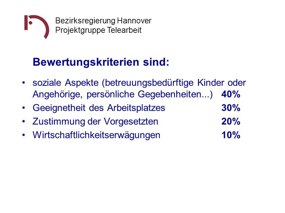 Bezirksregierung Hannover Projektgruppe Telearbeit Bewertungskriterien sind: soziale Aspekte (betreuungsbedürftige Kinder oder Angehörige, persönliche