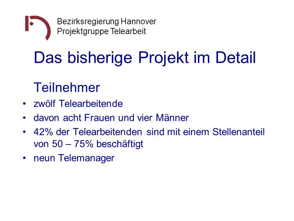 Bezirksregierung Hannover Projektgruppe Telearbeit Das bisherige Projekt im Detail Teilnehmer zwölf Telearbeitende davon acht Frauen und vier Männer 4
