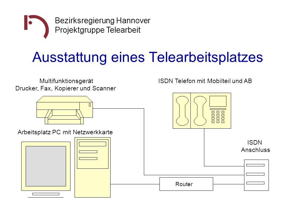 Bezirksregierung Hannover Projektgruppe Telearbeit Ausstattung eines Telearbeitsplatzes Router Arbeitsplatz PC mit Netzwerkkarte Multifunktionsgerät D