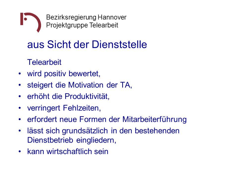 Bezirksregierung Hannover Projektgruppe Telearbeit aus Sicht der Dienststelle Telearbeit wird positiv bewertet, steigert die Motivation der TA, erhöht