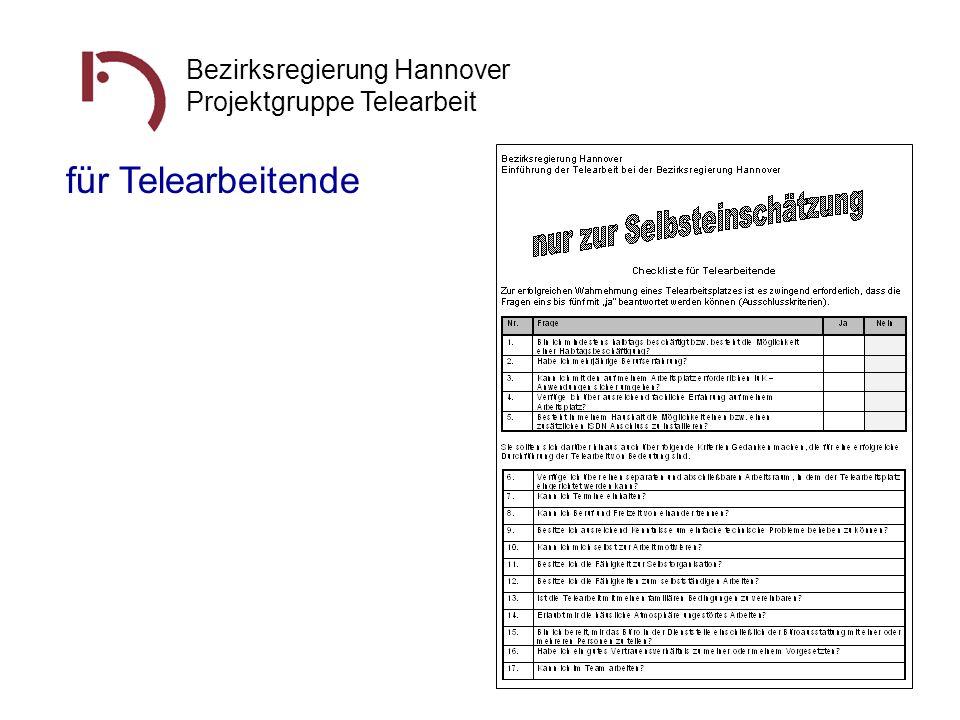 Bezirksregierung Hannover Projektgruppe Telearbeit für Telearbeitende