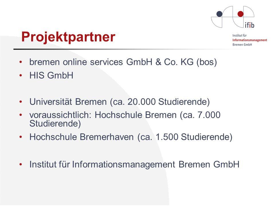 bremen online services GmbH & Co. KG (bos) HIS GmbH Universität Bremen (ca. 20.000 Studierende) voraussichtlich: Hochschule Bremen (ca. 7.000 Studiere