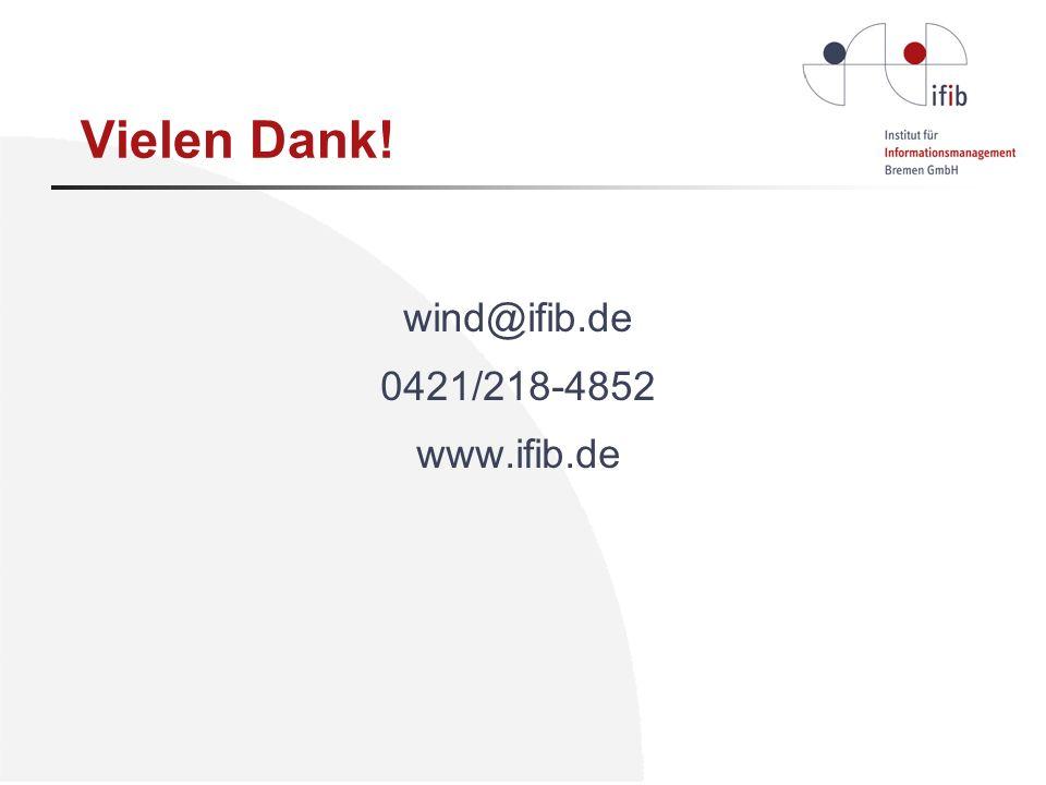 Vielen Dank! wind@ifib.de 0421/218-4852 www.ifib.de