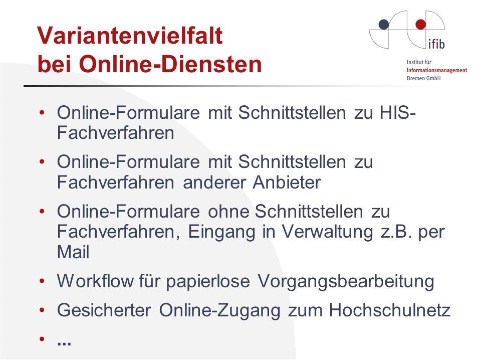 Variantenvielfalt bei Online-Diensten Online-Formulare mit Schnittstellen zu HIS- Fachverfahren Online-Formulare mit Schnittstellen zu Fachverfahren a