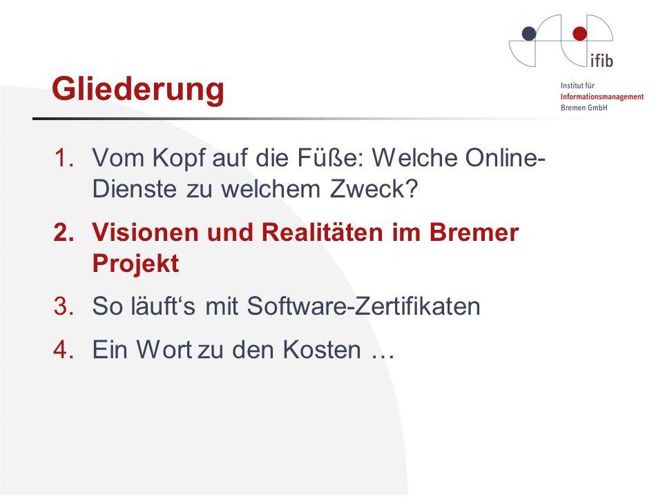 Gliederung 1.Vom Kopf auf die Füße: Welche Online- Dienste zu welchem Zweck? 2.Visionen und Realitäten im Bremer Projekt 3.So läufts mit Software-Zert