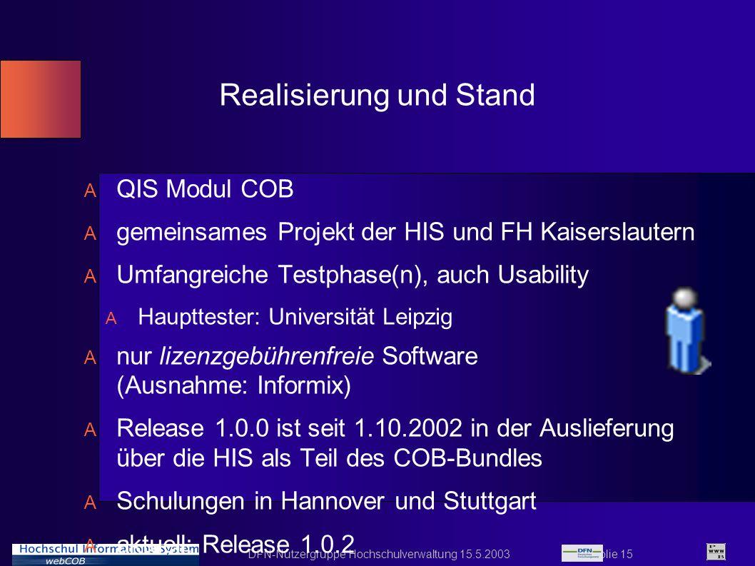 DFN-Nutzergruppe Hochschulverwaltung 15.5.2003 Folie 15 Realisierung und Stand A QIS Modul COB A gemeinsames Projekt der HIS und FH Kaiserslautern A U