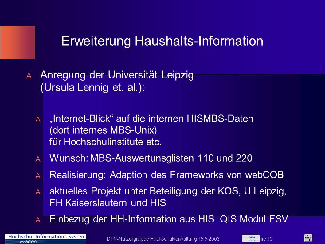 DFN-Nutzergruppe Hochschulverwaltung 15.5.2003 Folie 19 Erweiterung Haushalts-Information A Anregung der Universität Leipzig (Ursula Lennig et. al.):
