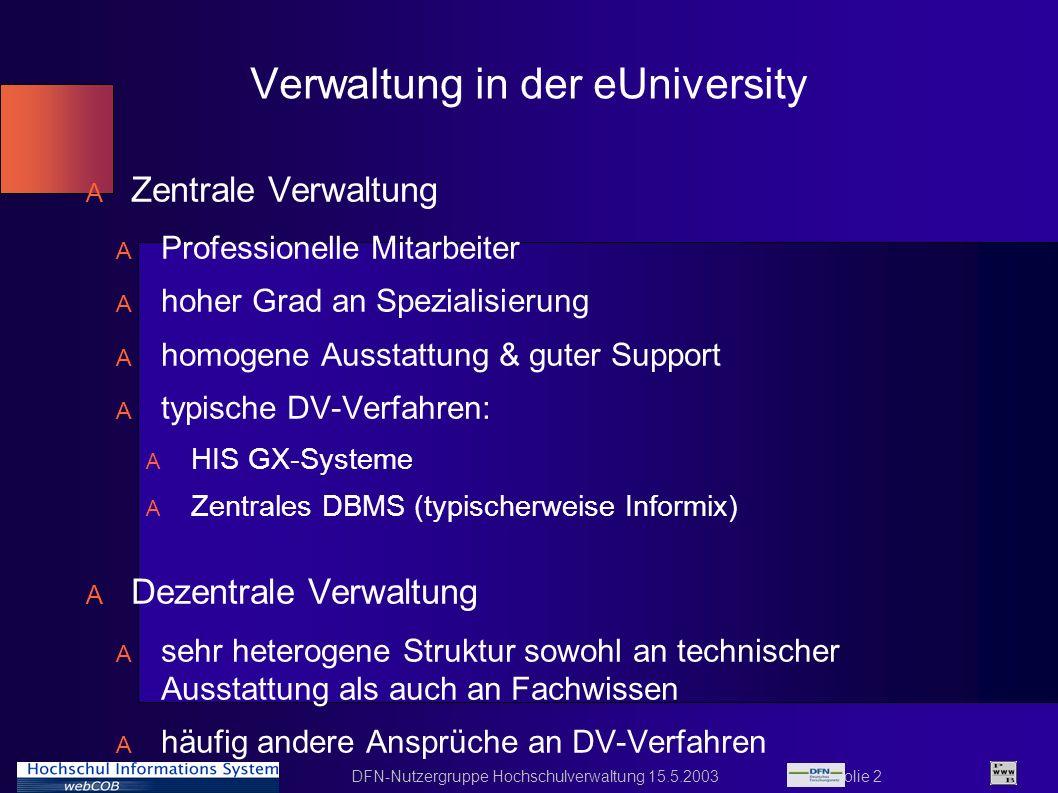 DFN-Nutzergruppe Hochschulverwaltung 15.5.2003 Folie 23 Aktuelle Entwicklung (I) A Integration der einzelnen serverbasierten Webmodule unter gemeinsamen Einstiegspunkt A der Einstiegspunkt (Portälchen) übernimmt die Authentifizierung A je nach Authentifizierung Freigabe der jeweiligen Module