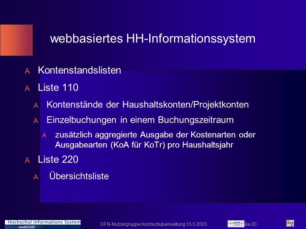 DFN-Nutzergruppe Hochschulverwaltung 15.5.2003 Folie 20 webbasiertes HH-Informationssystem A Kontenstandslisten A Liste 110 A Kontenstände der Haushal