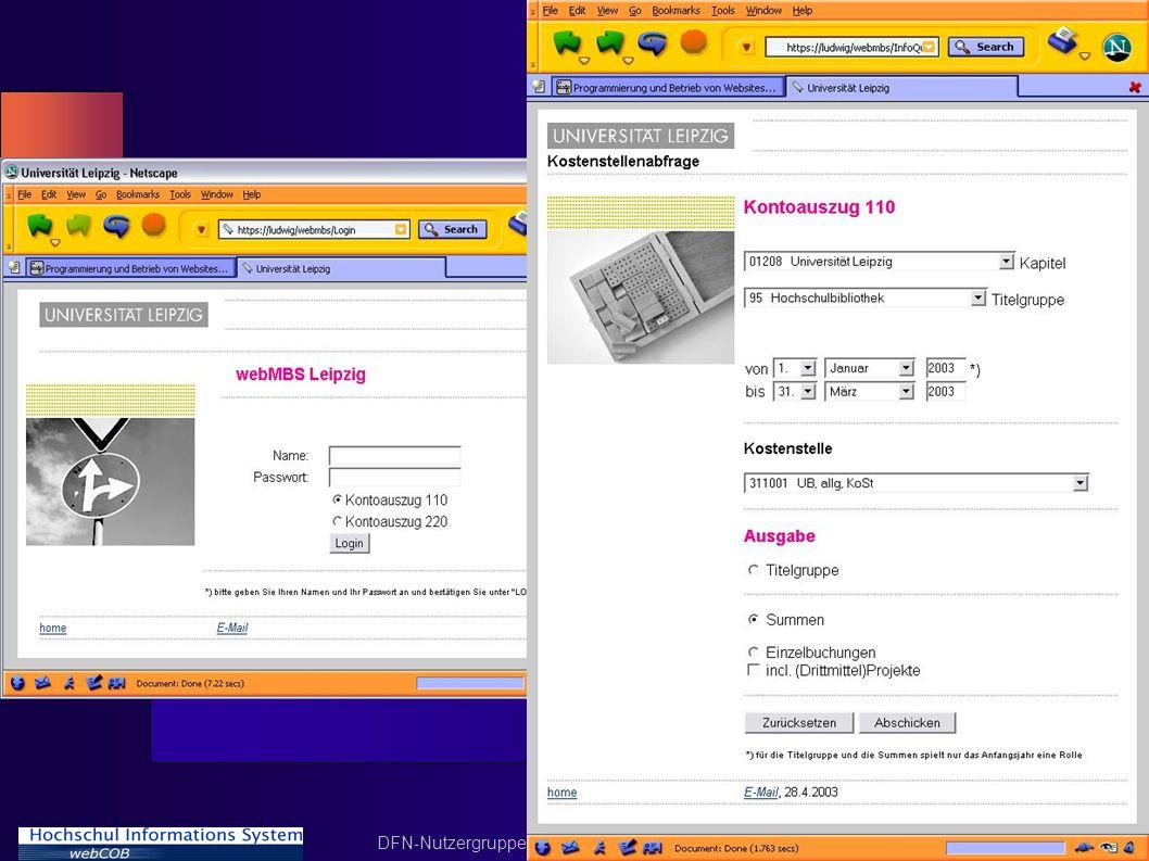 DFN-Nutzergruppe Hochschulverwaltung 15.5.2003 Folie 21
