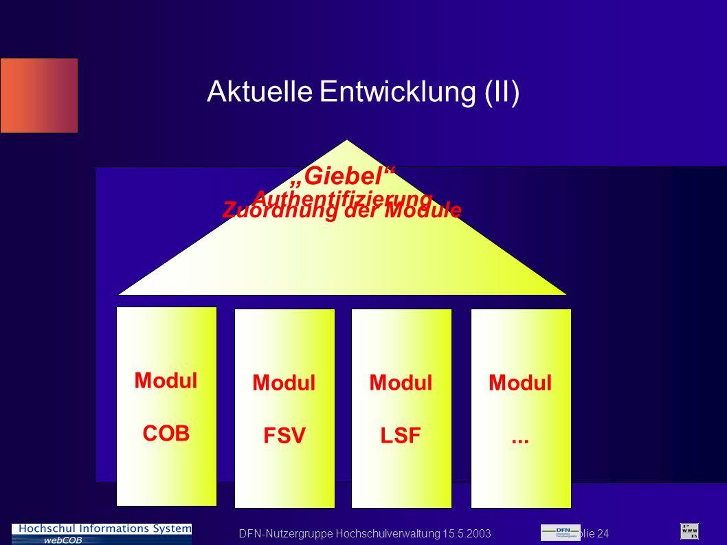 DFN-Nutzergruppe Hochschulverwaltung 15.5.2003 Folie 24 Aktuelle Entwicklung (II) Modul COB Modul LSF Modul FSV Modul... Giebel Authentifizierung Zuor